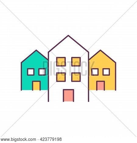 Real Estate Rgb Color Icon. Apartment Buildings. Residential Lots. Isolated Vector Illustration. Hom
