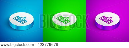 Isometric Line United States Capitol Congress Icon Isolated On Blue, Green And Purple Background. Wa