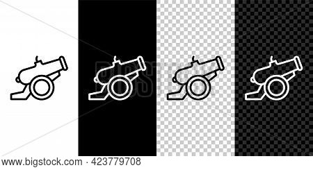 Set Line Cannon Icon Isolated On Black And White, Transparent Background. Vector