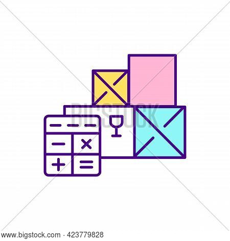 Calculating Tax For Goods Delivery Rgb Color Icon. Transportation Cost. Isolated Vector Illustration