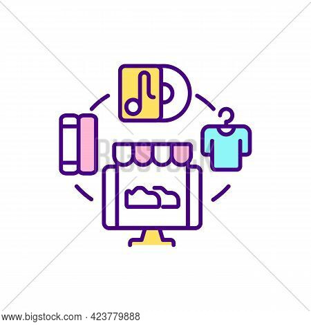Selling On Social Media Platform Rgb Color Icon. Launching Online Marketplace. Isolated Vector Illus