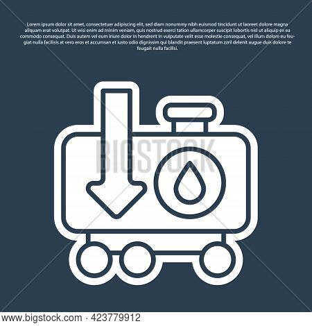 Blue Line Drop In Crude Oil Price Icon Isolated On Blue Background. Oil Industry Crisis Concept. Vec