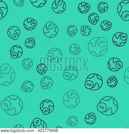 Black Line Global Economic Crisis Icon Isolated Seamless Pattern On Green Background. World Finance