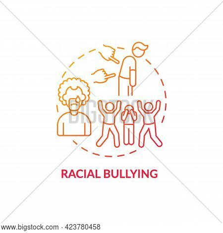 Racial Bullying Concept Icon. Racism In Social Situation Abstract Idea Thin Line Illustration. Physi