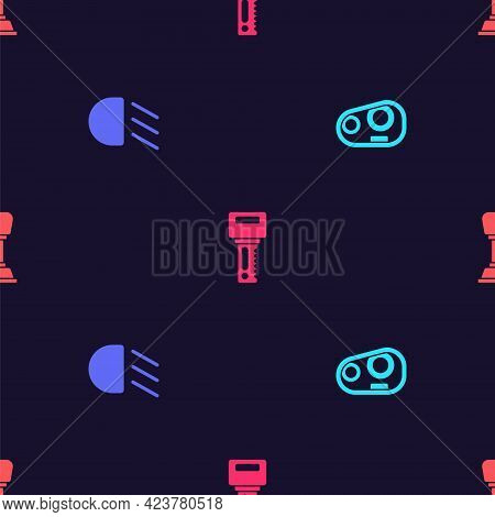 Set Car Headlight, High Beam, Key With Remote And Gear Shifter On Seamless Pattern. Vector