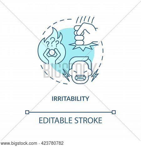 Irritability Concept Icon. Emotional Problems. Disease Symptomps. Human Health Problems. Diabetes Ab
