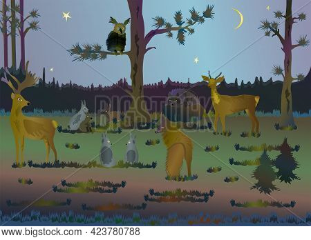Animals of northern latitudes. Collection of animals in the forest.