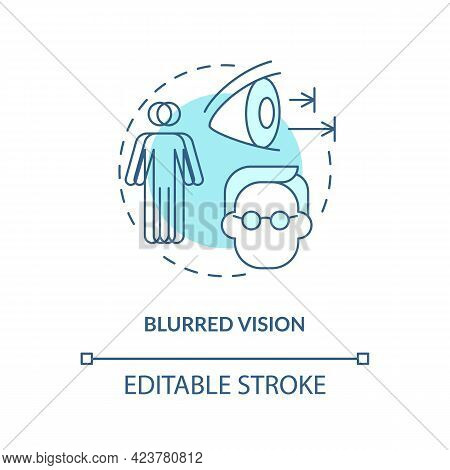 Blurred Vision Concept Icon. Problems With Eyes. Medical Help. Curing Visionary Issues. Seeing Badly