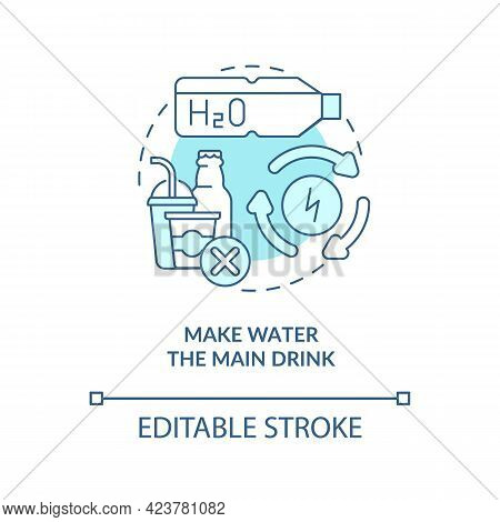 Make Water Main Drink Concept Icon. Improve Everyday Liquid Drinking. Staying Hydrated. Healthy Habi