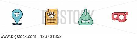 Set Cat Nose, Clinical Record Pet, Dog Collar And Retractable Leash Icon. Vector