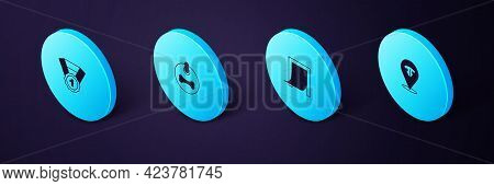 Set Isometric Cat Nose, Door For Pet, Dog Collar And Award Symbol Icon. Vector