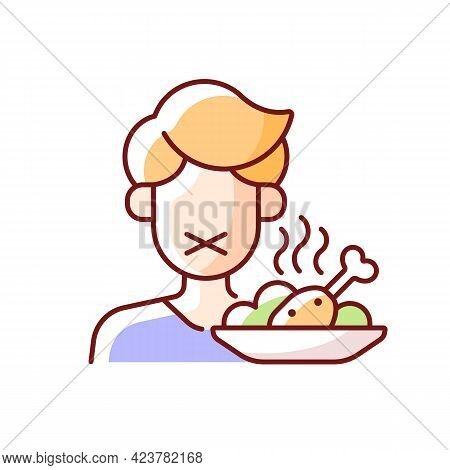 Loss Of Appetite Rgb Color Icon. Restriction In Food For Diet. Symptom Of Heatstroke. Anorexia Sign,