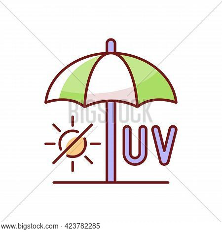Seek Shade Rgb Color Icon. Hide Under Umbrella While On Beach During Summer. Uv Protection To Avoid