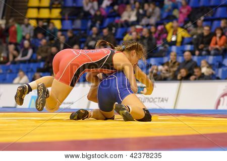 KIEV, UKRAINE - FEBRUARY 16: Match between Maroulis, USA, red and Barka, Hungary during XIX International freestyle wrestling and woman wrestling tournament in Kiev, Ukraine on February 16, 2013