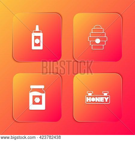 Set Jar Of Honey, Hive For Bees, And Hanging Sign With Honeycomb Icon. Vector