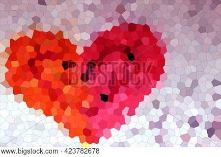 Mosaic Decorative Ornament With Hearts In Orange And Pink Colors. Mosaic Two-tone Heart. Modern Mini