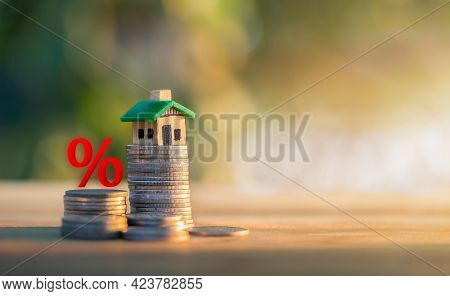 Mortgage Rates Business Concept Of Investment Housing Real Estate Interest Rates 3d Home Appraisal.