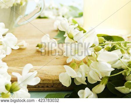 Acacia Flowers On Wood