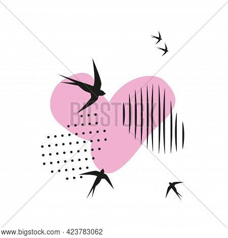 Minimalistic Pattern In Oriental Style. Flock Of Swallows Flies Into Light. Abstract Objects, Spots,