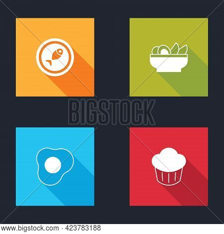 Set Served Fish On A Plate, Nachos In, Scrambled Eggs And Cupcake Icon. Vector