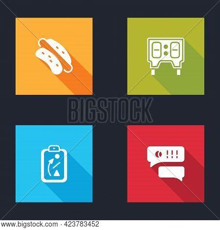 Set Hotdog Sandwich, Baseball Mechanical Scoreboard, Planning Strategy And Speech Bubble Chat Baseba
