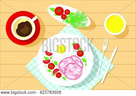 Breakfast With Coffee, Orange Juice, Fried Eggs, Sausage Wurst, And Salad Basil, Tomatoes. Vector Il