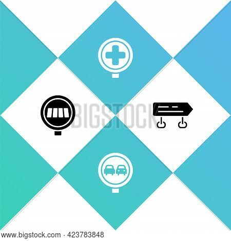 Set Pedestrian Crosswalk, No Overtaking Road Traffic, Hospital And Road Sign Icon. Vector