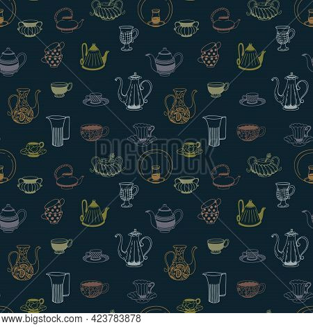 Crockery Set Hand Drawn Seamless Pattern. Doodle Collection Of Teapots, Tea Cups, Mugs, Coffeepots,