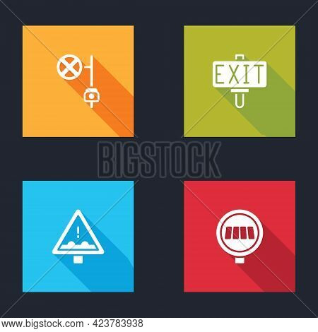 Set Stop Sign With Camera, Fire Exit, Uneven Road Ahead And Pedestrian Crosswalk Icon. Vector
