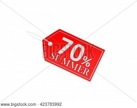 Red Price Tag With Seventy Percent Summer Discount On White. 3d Illustration