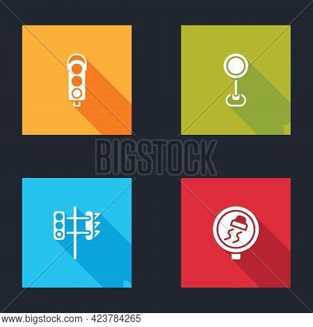 Set Traffic Light, Road Traffic Sign, And Slippery Road Icon. Vector