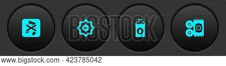 Set Speaker Mute, Octagonal Star, Bottle Of Water And Traditional Carpet Icon. Vector