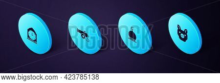 Set Isometric Pig, Muslim Mosque, Ramadan Cannon And Clock Icon. Vector
