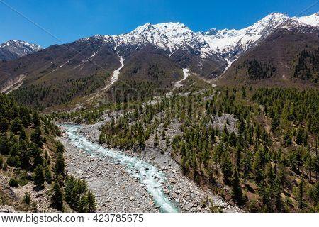 Himalayas and Baspa River. Sangla valley, Himachal Pradesh, India