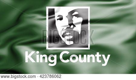 3d Flag Of King County (washington State), Usa. 3d Illustration.