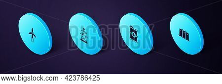 Set Isometric Hydroelectric Dam, Bio Fuel Barrel, Electric Tower And Wind Turbine Icon. Vector