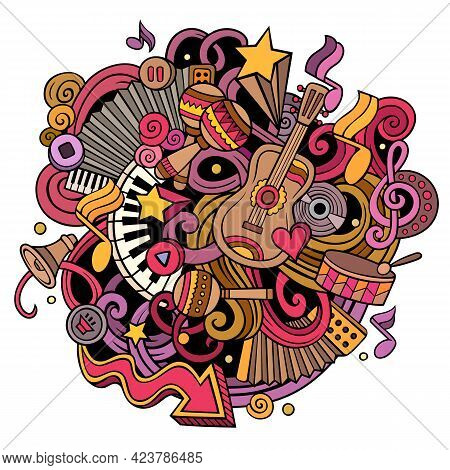 Cartoon Cute Doodles Hand Drawn Music Illustration. Colorful Detailed, With Lots Of Objects Backgrou