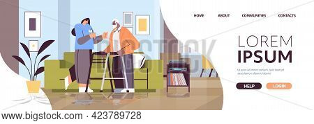 Friendly Nurse Or Volunteer Supporting Elderly Man With Walkers Home Care Services Healthcare And So