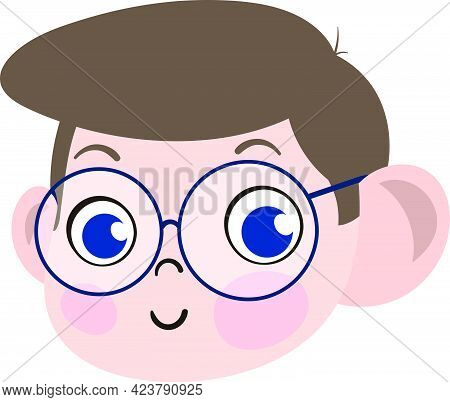 Cute Boy Child Face. Smart And Adorable Boy Child With Spectacles. Cute Face With Innocent Expressio