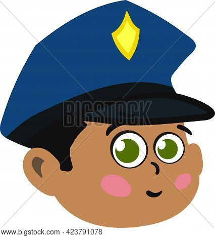 Cute Police Officer Kid Face. Cute And Adorable Boy Child With Police Hat. Cute Face With Innocent E