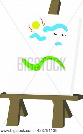 Art Canvas And Easel Vector Isolated On White Background. Children Book Illustration Graphics. Tools