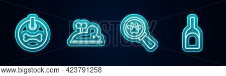 Set Line Dog Collar, Clockwork Mouse, Veterinary Clinic And Dustpan. Glowing Neon Icon. Vector