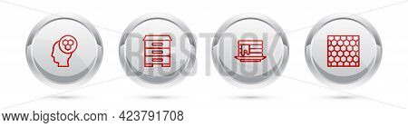 Set Line Beekeeper, Hive For Bees, Stack Of Pancakes And Honeycomb. Silver Circle Button. Vector