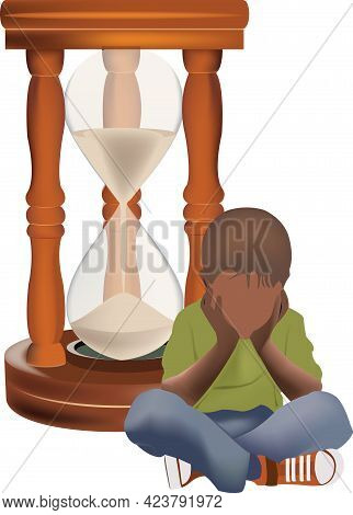 Abandoned And Bored Black Child With Hourglass