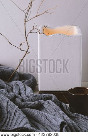 Warm And Cosy Home With Cup Of Coffee, Concrete Lampe And Rustic Wool Plaid. Still Life In Nordic, H