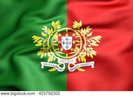 3d Military Flag Of Portugal. 3d Illustration.