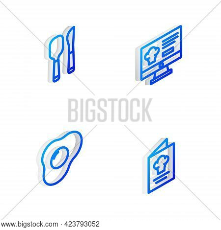 Set Isometric Line Online Ordering And Delivery, Knife Spoon, Scrambled Eggs And Cookbook Icon. Vect