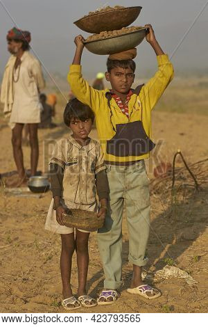 Pushkar, Rajasthan, India - November 5, 2008: Children Carrying Baskets Containing Camel Dung For Us