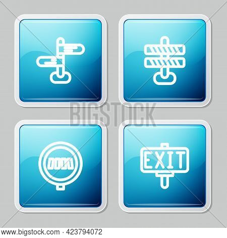 Set Line Road Traffic Sign, Barrier, Pedestrian Crosswalk And Fire Exit Icon. Vector