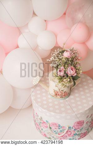 birthday setup for a girl birthday studio photo shoot